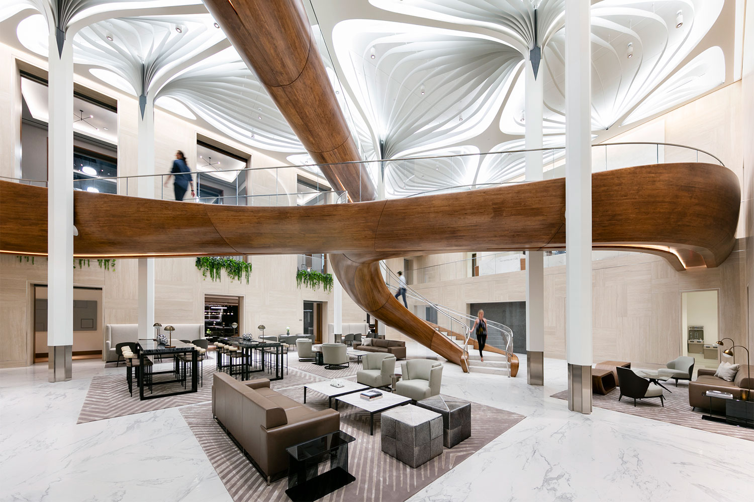 A photograph of the interior of the Waterline Club featuring a dramatic sculptural ceiling